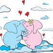 Hanging elephants cute romantic background — Imagen vectorial