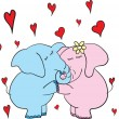 Stock Vector: Romantic doodle background with hanging elephants