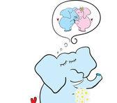Elefante con flores soñando — Vector de stock