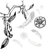 Ethnic native american symbols background — Stock Vector
