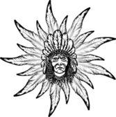 Native american cadre homme et plume — Vecteur