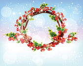 Christmas holly wreath on the glossy shiny winter snowfall background — Stock Vector