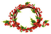 Christmas holly wreath, winter decoration bouquet — Stock Vector
