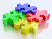 Rgb color jigsaw puzzle pieces — Stock Photo