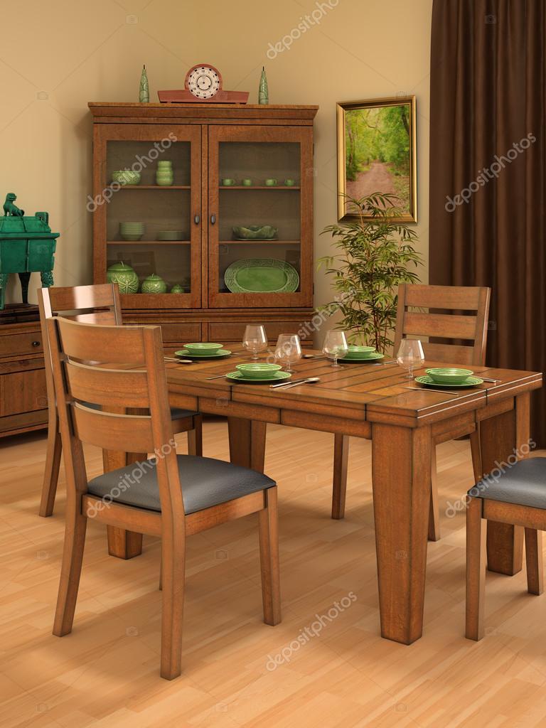 Comedor de estilo r stico foto de stock 25959269 for Cortinas comedor rustico
