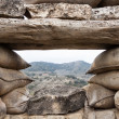 Defensive fighting position in Alcubierre, Spain - Stock Photo