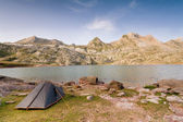 Camping Tent by Estanes Lake during sunrise — Stock Photo