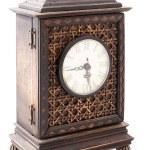 relógio de madeira velho isolado — Foto Stock