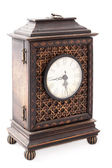 Old wooden clock isolated — Stock fotografie