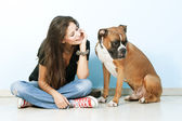 Young woman playing with her dog . Boxer dog. — Stock Photo