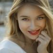 Exotic blonde beauty, red lipstick — Stock Photo #47123821