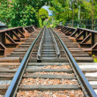 Rails resting on traditional wooden sleepers — Stock Photo #12552313
