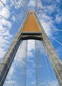 Cable bridge against blue sky — Stock Photo
