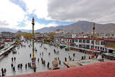 Barkhor Square view from roof of Jokhang temple — Stock Photo