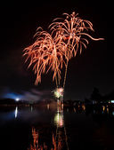 Fireworks with reflection — Stok fotoğraf