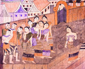 Thai mural painting depicts the way of life of Nan in the — Stock Photo