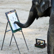 Elephant artist painting — Stock Photo
