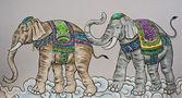 Pintura de elefante colorido — Foto Stock