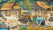 Thai rural culture stone carving — Stock Photo