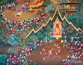 Lindo mural tailandês — Fotografia Stock