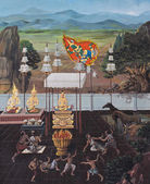 Tradycyjny tajski malarstwo ścienne — Zdjęcie stockowe