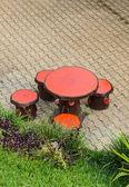 Outdoor garden table — Stock Photo