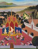 Thai Buddhist mural — Stock Photo