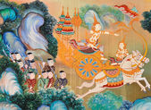 Traditional Thai mural painting — Stock Photo