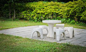 Garden stone table — Stock Photo