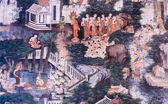 Antika thailändska väggmålning — Stockfoto