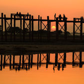 U Bein bridge at sunset, Myanmar — Stockfoto