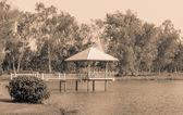 Park with pavilion — Stock Photo