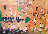 Peinture murale thaïlandais — Photo