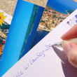 Ansichtskarte schreiben - writing a picture postcard 03 — Stock Photo
