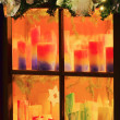 Kerzen im Fenster - candle in window 01 — Stock Photo