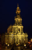 Dresden Hofkirche Nacht - Dresden Catholic Court Church night 03 — Stock Photo