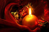 Kerze auf rot - candle on red 07 — Stock Photo