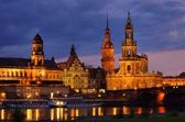 Dresden Hofkirche Nacht - Dresden Catholic Court Church night 07 — Stock Photo