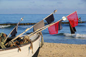 Fischkutter am Strand - fishing cutter on the beach 11 — Stock Photo