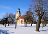 Altdebern Kirche Winter - Altdobern church winter 0 — Stock Photo