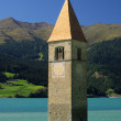 Reschensee mit Kirche - Reschensee with church 01 - Stock Photo