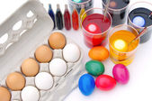 Ostereier ferben - easter eggs colour — Stock Photo