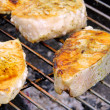 Grilling fish steak — Stock Photo