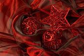 Gwiazda i kulki na czerwono — Zdjęcie stockowe