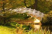 Angielski ogród laboratory biały most — Zdjęcie stockowe