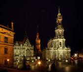 Dresden Catholic Court Church night — Stock Photo