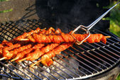 Meat on stick grilled — Stock Photo