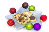 Cookie with Christmas balls — Stock Photo