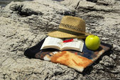Hat with a book — Stock Photo