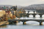 Prague bridges aerial view  — Stock Photo
